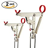 Portable Fishing Rod Holder with Stainless Steel Ground Support Stand Fishing Rod Racks Folding Holder with Automatic High Strength Spring Tip-Up Hook Setter-Fishing Gear