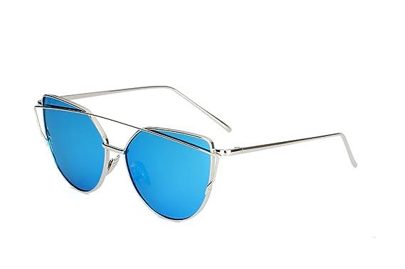 1acadaa9c17 Fashionable Women Sunglasses Metal Frame Cat Eye Mirrored Flat Lenses  Sunglasses UV400 Womens Ocean Color Sunglasses with Wholesale Price (Black