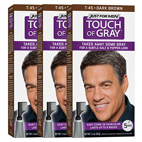 Just For Men Touch Of Gray Comb-In Men's Hair Color, Dark Brown (Pack of - Combs Grey