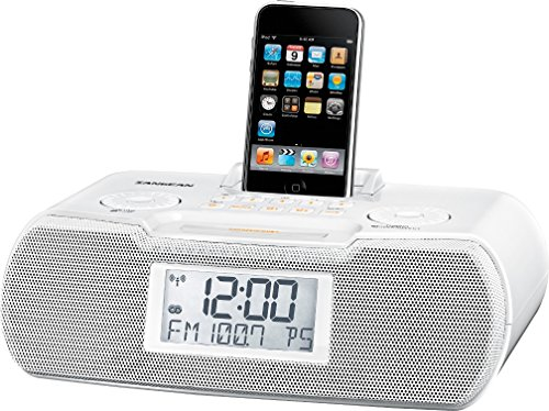 RBDS/AM/Aux-in Digital Tuning Atomic Clock Radio Compatible with iPod, White, FM/AM Stereo Digital Tuning Stereo, 10 Memory Preset Stations (5 FM, 5 AM), iPod Cradle Plays and Charges any iPod ()