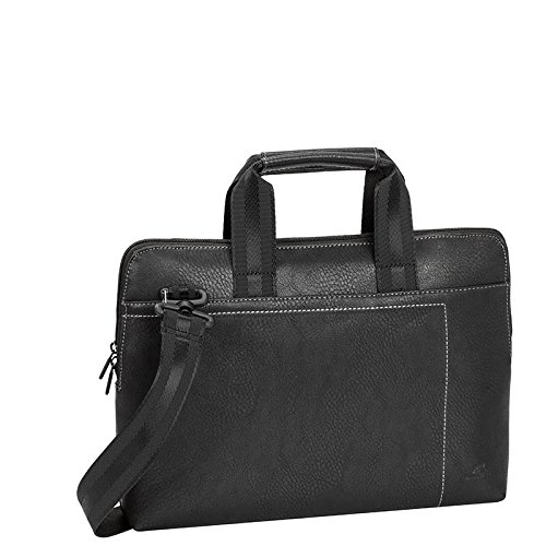 Rivacase 8920 13.3'' Laptop Bag, Classic, Slim, Sturdy, Black Vegan Leather by Rivacase
