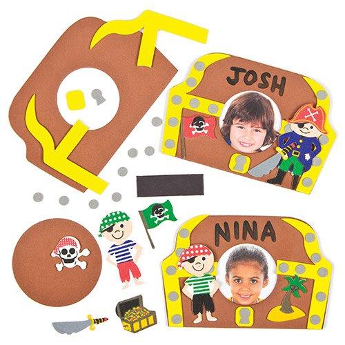 Kits de Cadres Photo Coffre au Trésor en Mousse que les Enfants pourront Confectionner, Décorer et Personnaliser (Lot de 5)