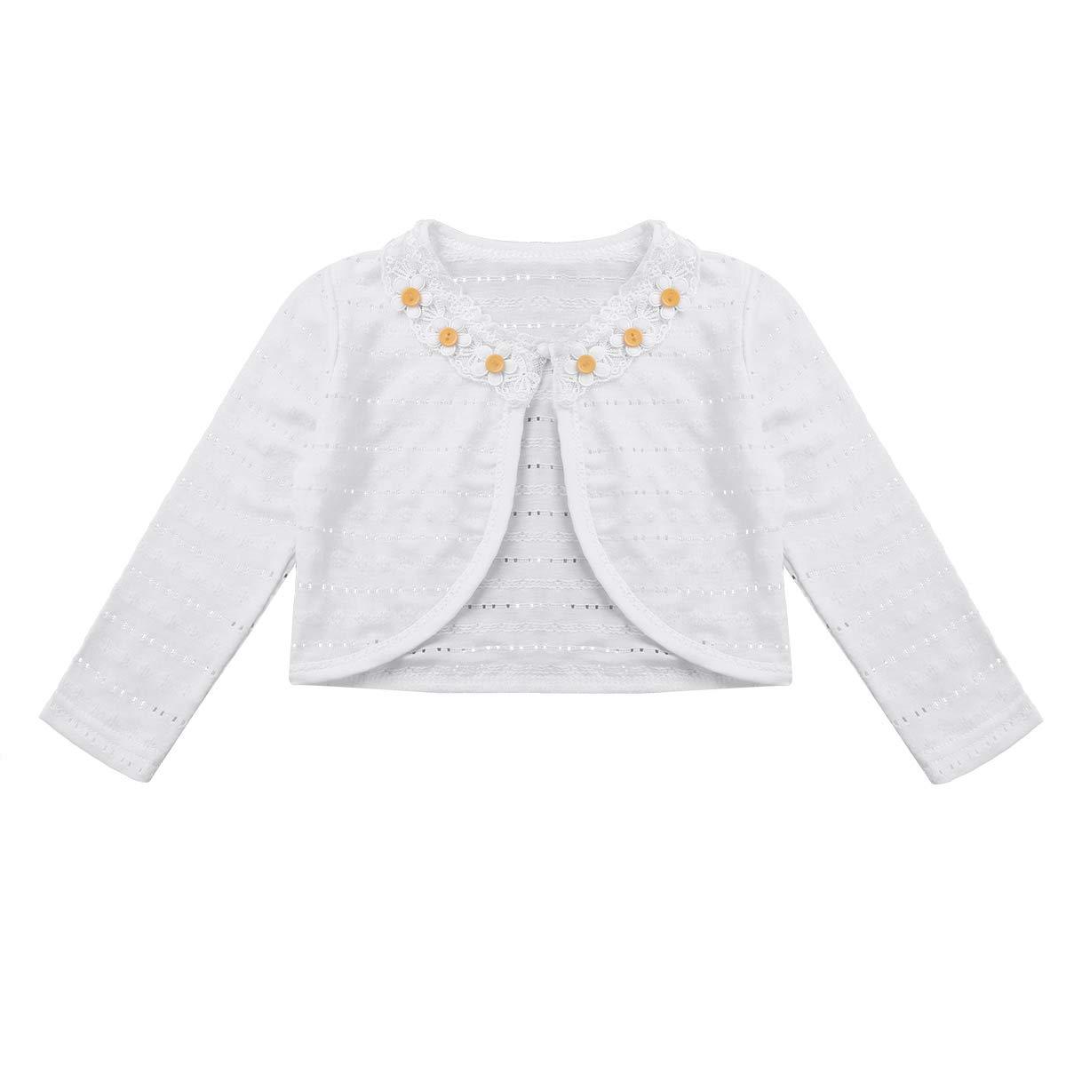 Freebily Kids Girls Long Sleeve Lace Flower One Clasp Closure Hollow Bolero Shrug Cardigan Top Type B White 3-4