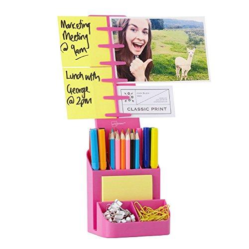 NoteTower Desk Supplies Organizer Caddy, Pink – Displays Photos & Organizes Sticky Notes – Sticky Notes - Photo Frame Pencil Holder