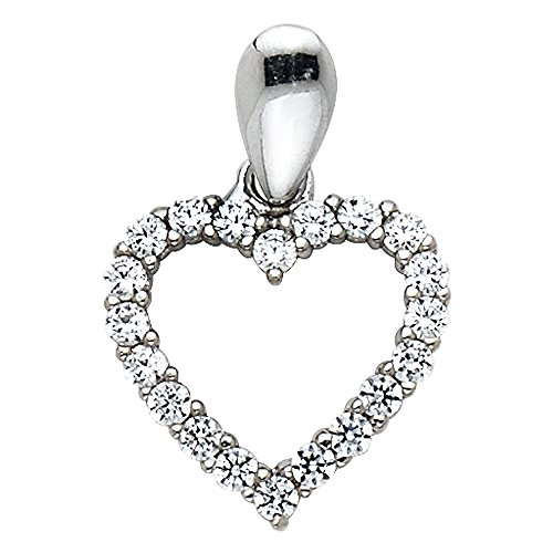 14k White Gold Open Heart CZ Charm Pendant