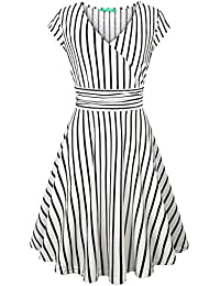 Women's Cross V Neck 3/4 Sleeve Fit Flare Empire Waist Dress