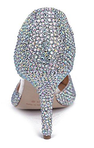 fiesta deslumbrantes Toe Stiletto de imitación bombas boda señaló Mujer de charol diamantes vestido TDA Plateado xqIPEwn