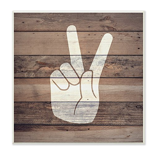Stupell Home Décor Peace Hand Distressed Wood Wall Plaque Art, 12 x 0.5 x 12, Proudly Made in USA