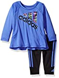 adidas Baby Girls' Long Sleeve Top and Legging Set, neon Blue, 18 Months