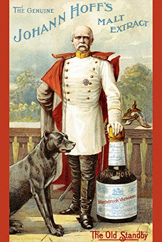 Victorian trade card for The Genuine Johann Hoffs Malt Extract - the Old Standby An imperial German officer leans against an oversized bottle of malt liquor His dog by his ()