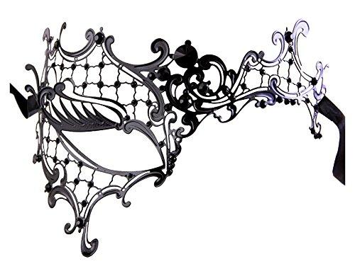 Luxury Mask Women's Signature Phantom Of The Opera Venetian Laser Cut Masquerade Mask, Black/Black Stones, One Size