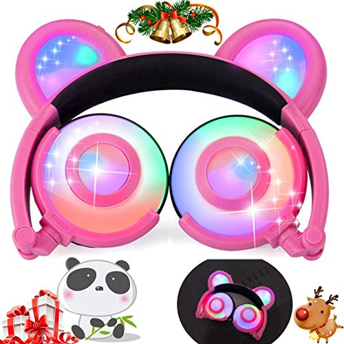 Kids Headphones Bear Ear Panda Headphones Glow in The Dark Party USB Rechargeable Wired On/Over Ear Game Headsets 85dB Volume Limited for iOS Android Music Toys Girls Boys Toddlers School Supplie Gift