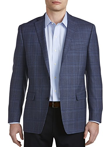 Michael Kors Big and Tall Plaid Wool Sport Coat Executive Cut - Executive 2 Button Wool Blazer