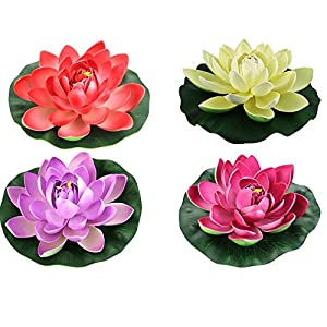 FQTANJU Foam Water Lily Flower Decor Artificial Floating Pond Plants Multicolor 21
