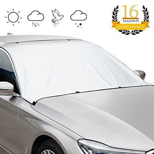 (GOOACC Magnetic Windshield Sun Shade Snow Cover- 8 x 2 Magnetic Edges - Reflect UV- Covers Whole Windshield- No More Scraping - Door Flaps Windproof Fits Most Vehicles, SUV, Truck, Van with 92