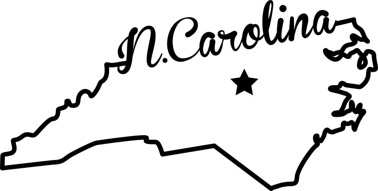 ND372 State of North Carolina Script Decal Sticker | 5.5-Inches By 2.7-Inches | Premium Quality Black Vinyl