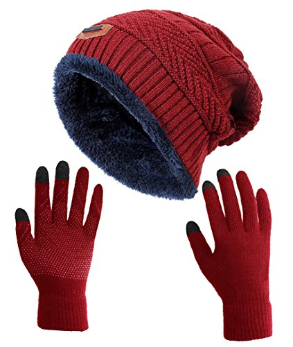 Winter Slouchy Beanie Gloves for Women HINDAWI Knit Warm Hats Skull Caps Touch Screen Mittens Burgundy