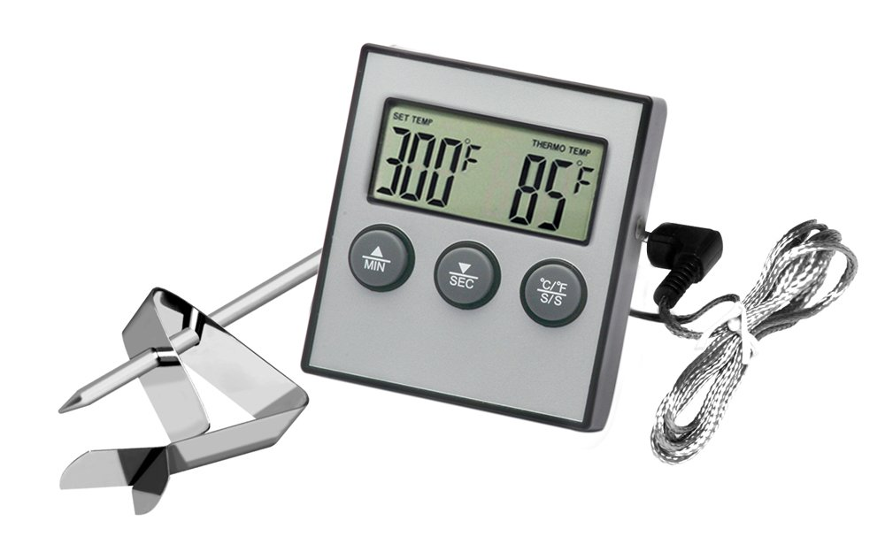 Hotloop Digital Oven Alarm Thermometer & Timer - Baking & Cooking Food Thermometer for BBQ Grill with Probe