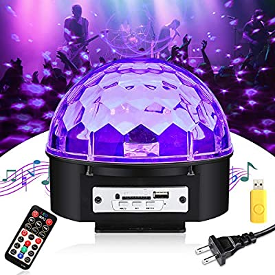 with Remote UV Black Light SOLMORE LED Disco Ball Party Lights Strobe Light 3W Sound Activated DJ Lights Stage Lights for House Party Nightclub Karaoke Dance Wedding Birthday Bedroom Event