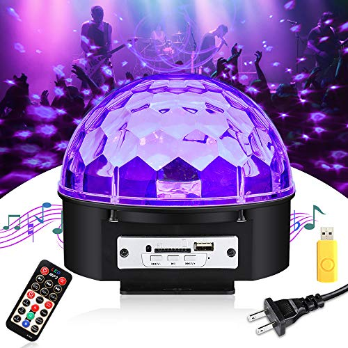 UV Black Light, SOLMORE LED Disco Ball Party Lights Strobe Light 9W Sound Activated DJ Lights Stage Lights for House Party Nightclub Karaoke Dance Wedding Birthday Bedroom Halloween Event(with -