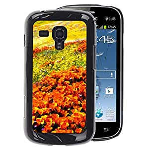 A-type Arte & diseño plástico duro Fundas Cover Cubre Hard Case Cover para Samsung Galaxy S Duos S7562 (Flowers Field Painting Art Orange Sky)