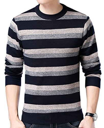 M Jumper amp;S Neck Knit Long Round Men's Sleeve amp;W 3 Sweater Stripe AAHqr