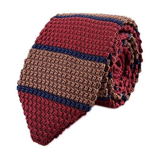 (Secdtie Men's Preppy Wide Stripe Navy Blue Red Brown Knitted Tie Necktie 015)
