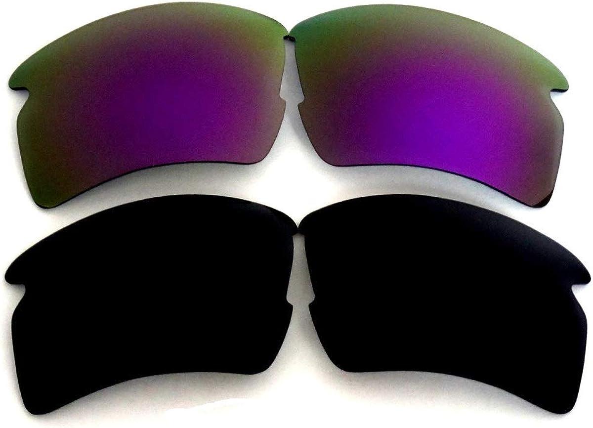 Lentes De Repuesto Para Oakley Flak 2.0 XL Polarizados negro y púrpura 2 Pares Transparente, regular