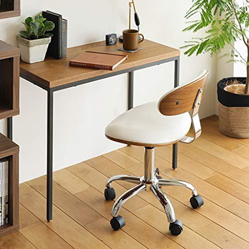 Slow Time Shop justerbar mellanrygg uppgift stol, låg rygg läder svängbar kontorsstol, massivt träsäte dator skrivbordsstol retro med armlös ribbad (vit)