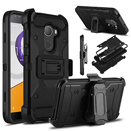 Alcatel T-Mobile REVVL Case, Alcatel A30 Fierce Case, Venoro Heavy Duty Armor Shockproof Rugged Protection Case Cover with Belt Clip and Kickstand for Alcatel A30 Plus/Alcatel Walters (Black)