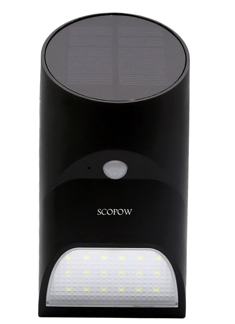 SCOPOW Bright Solar Light, Boom Solar Powered Outdoor Motion Active 18 LED Lights for Garden Patio Fencing Path Lighting (Black)