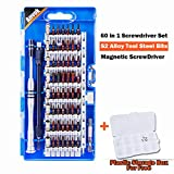 Precision Screwdriver Set,Magnetic Driver Kit 60 in 1 with 56 Bits Small Repair Tool kit for Cell Phone, Tablet, PC, iPhone, MacBook, Camera, Electronic.Upgrade Version with Plastic Storage Box (Blue)