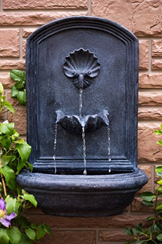 The Napoli - Outdoor Wall Fountain - Slate Grey - Water Feature for Garden, Patio and Landscape Enhancement