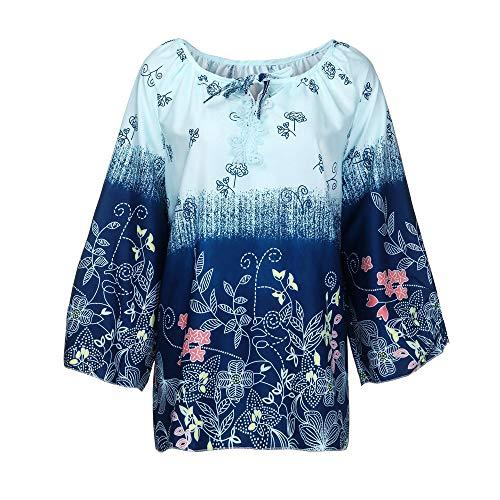 Manches Col Femme Imprim V en Shirt Tops Bandage Size Vrac Dentelle Chemisier Clair Bringbring Plus Longues T Chic Bleu qqfrt1