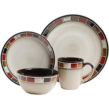 Amazon.com   Sango Avanti 16-Piece Dinnerware Set, Brown: Dish Sets ...
