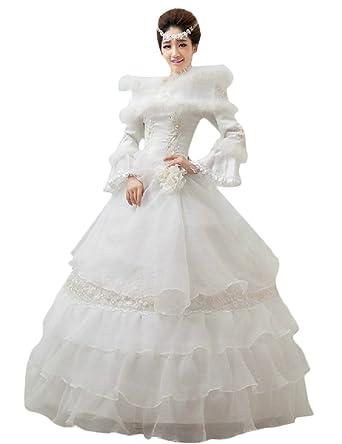 599ffb6940467 ウェディングドレス 長袖 ウエディング ブライダル 結婚式 花嫁 大きいサイズ ジップアップ プリンセス ロングドレス エレガント