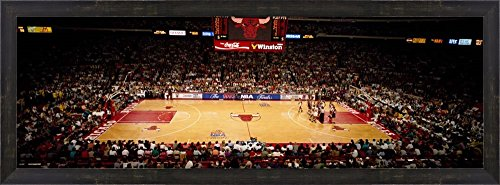 NBA Finals Bulls vs Suns, Chicago Stadium by Panoramic Images Framed Art Print Wall Picture, Espresso Brown Frame, 38 x 14 inches