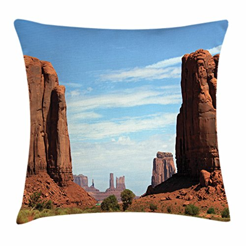 (Lunarable American Throw Pillow Cushion Cover, United States Utah Colorado Plato The Mitten Butte Monument Valley Rocks Canyon Scenery, Decorative Square Accent Pillow Case, 28 X 28 Inches, Brown)