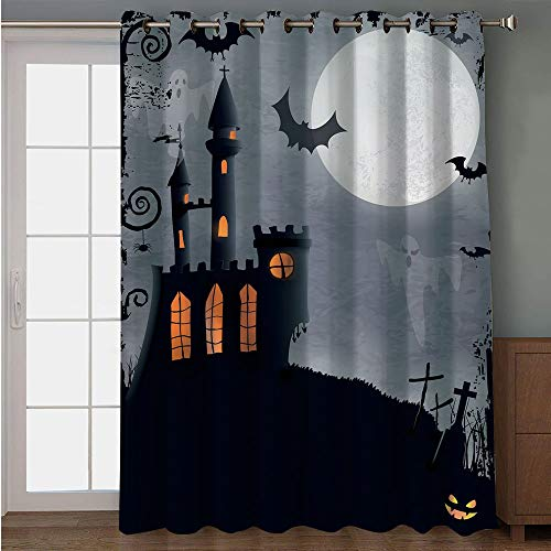 (iPrint Blackout Patio Door Curtain,Vintage Halloween,Halloween Themed Asymmetric Caste with Scary Bats and Ghosts Full Moon,Black Grey,for Sliding & Patio Doors, 102