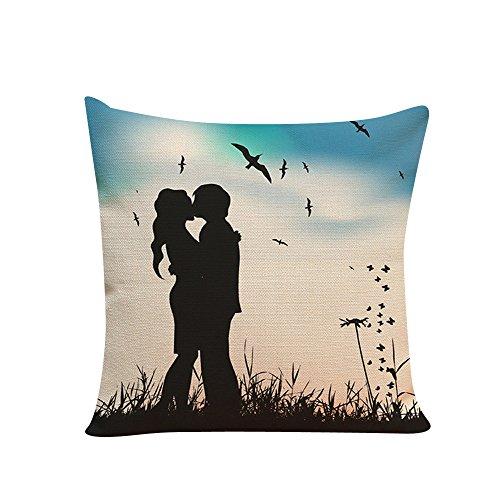 Littay Pillowcase 18inch x 18inch,Lovers Painting Linen Cushion Cover Throw Waist Pillow Case Sofa Home Decor ()