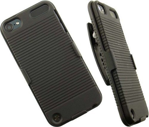 BLACK RUBBERIZED HARD CASE + BELT CLIP HOLSTER COMBO FOR iPOD TOUCH 5 5th GEN Holster Combo Black - Combo Ipod