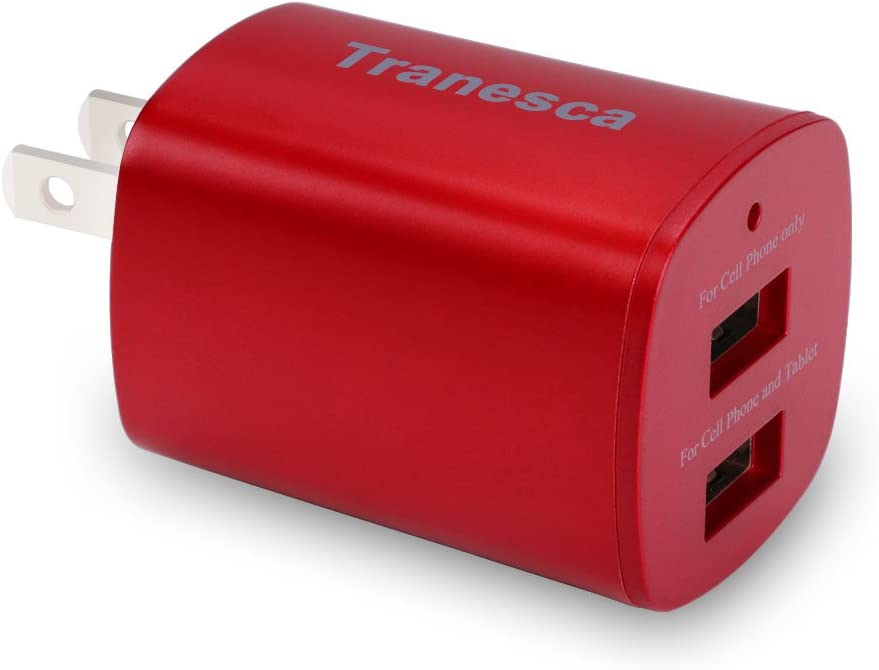 Tranesca Dual USB Port Travel Wall Charger with Foldable Plug Compatible with iPhone XS/XR/X/8/7/6/6Plus/, Samsung Galaxy S7/S6/S5 Edge, LG, HTC, Moto, Kindle and More-Red