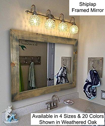 (Shiplap Large Wood Framed Mirror Available in 4 Sizes and 20 Colors: Shown in Weathered Oak - Large Wall Mirror - Rustic Barnwood Style - Bathroom Vanity Mirror - Decor for Bathroom)