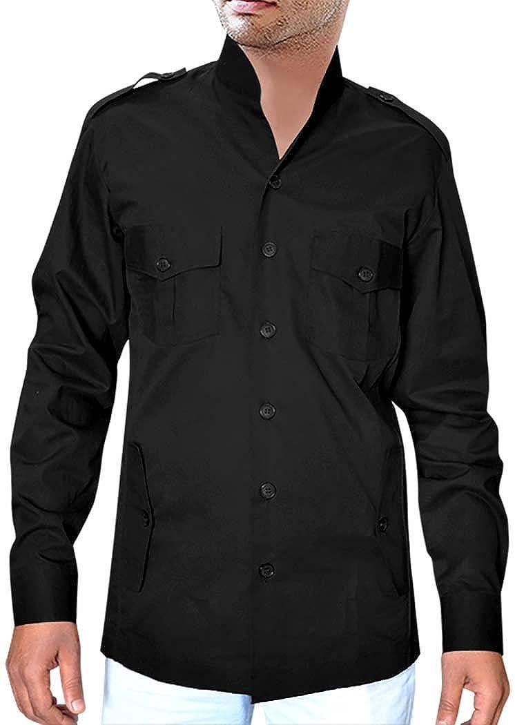 INMONARCH Schwarz Baumwolle Langarm Shirt Bush HS116