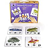 Star Right Self-Correcting Spelling Puzzle with Realistic Art to 3 and 4 Letter Words, Set of 26 (91 pieces) with 1 Puzzle Frame Included