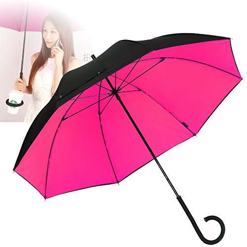 NEWBRELLAs Durable Travel Umbrella with Unique Twistable C Handle - Solved Traditional Problem of Storage (Black/Rosy)