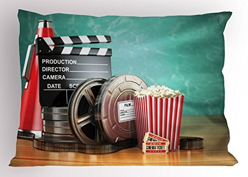 TINA-R Movie Theater Pillow Sham, Production Theme 3D Film Reels Clapperboard Tickets Popcorn and Megaphone, Decorative Standard King Size Printed Pillowcase, 24 X 16Inches, Multicolor ()