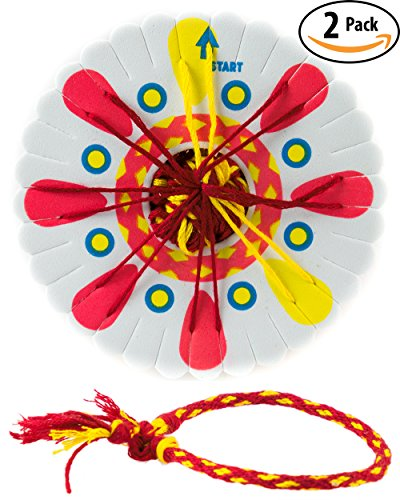 Friendship Bracelet Maker Kit For 2: Cute Red & Yellow Braided Diamond Pattern & Weaving Wheel. Your Daughter & Her Friend Will Love This Fun Sleepover & Craft Activity. Great (Friendship Wheel)