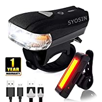 H-Fun Smart Sensor Rechargeable Bike Light Set 400 High lumen Front and Rear Cycling Safety Light Super Bright LED Headlight and Tail Light-Easy to Install and Waterproof Bicycle Flashlight, Black (Bike Light)