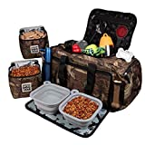 Dog Travel Bag - Ultimate Week Away Duffel Med Large Dogs - Includes Bag, 2 Lined Food Carriers, Placemat 2 Collapsible Bowls (Camo)